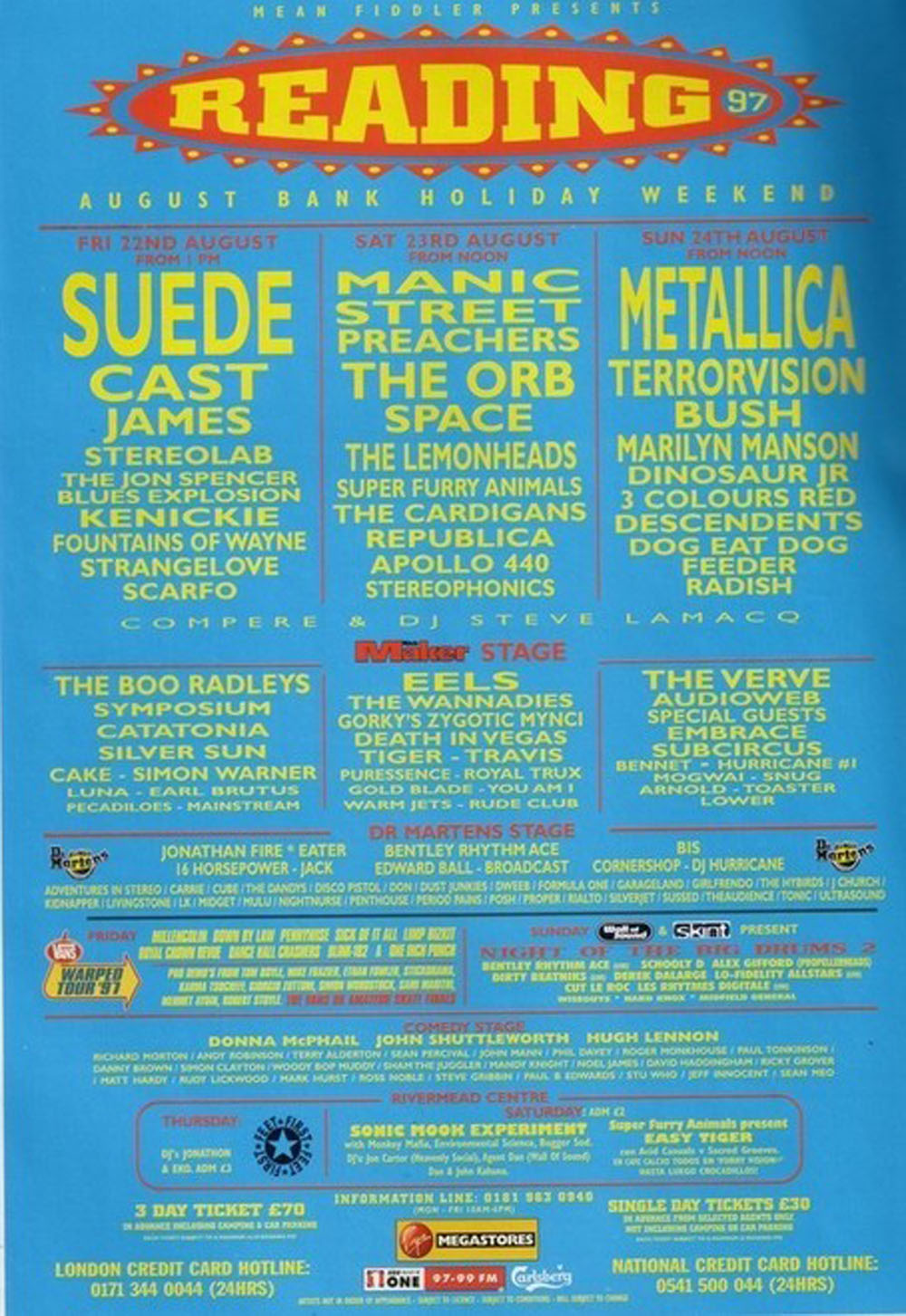 One Of The Three   1997-08-22 Reading Festival poster1997-08-22 ...